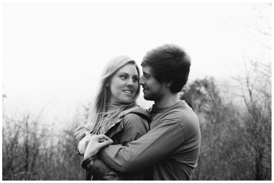 bride-intimately-looks-at-groom-at-charlies-bunion-engagement-Jill and Daniel