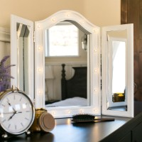 BCP Lit Tabletop Tri-Fold Vanity Mirror w/ LED Lights ...