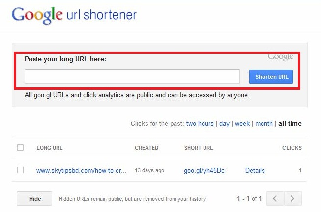 How to create short link from Google?