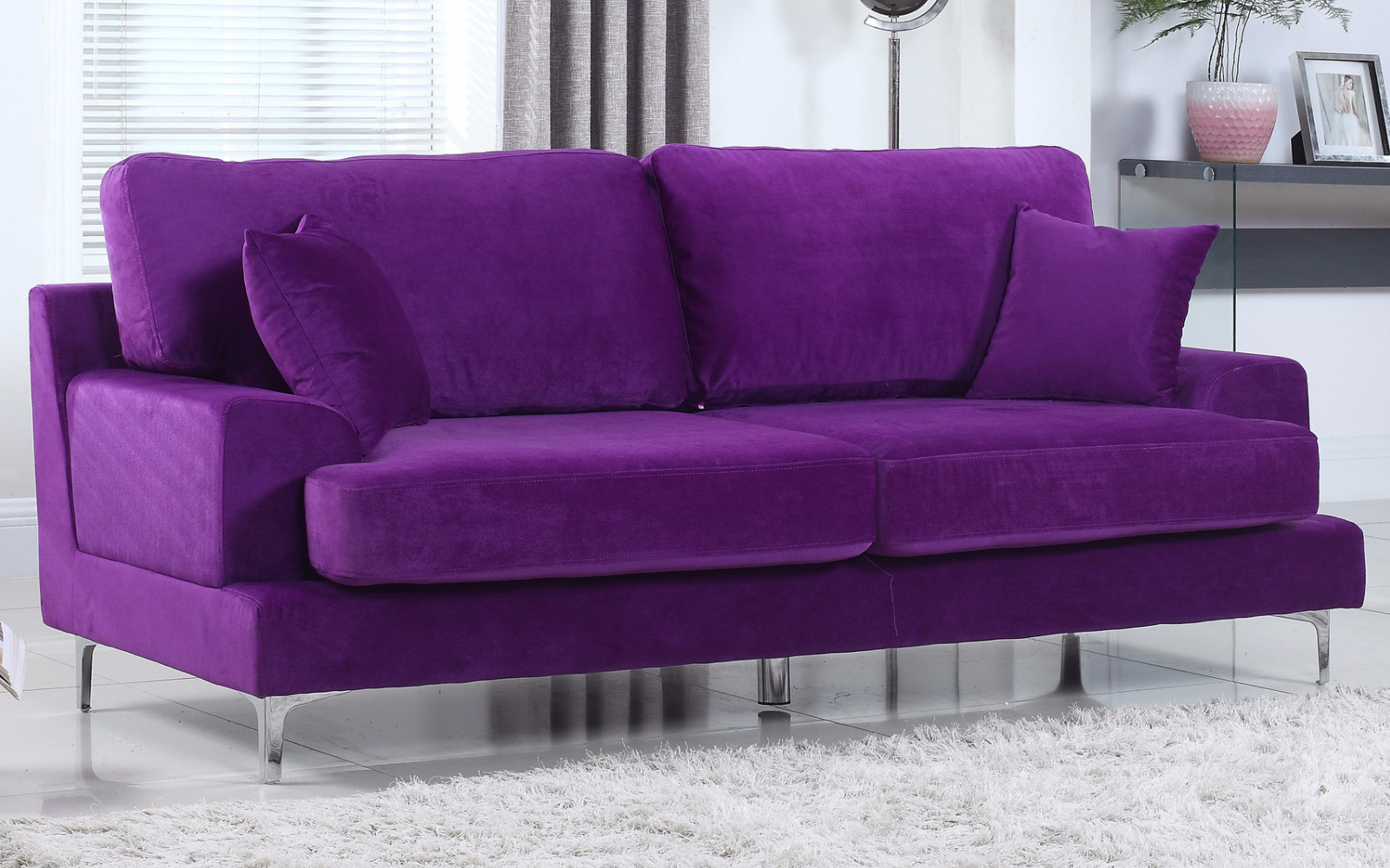 purple contemporary sofa zippered cushion covers ultra plush modern velvet living room