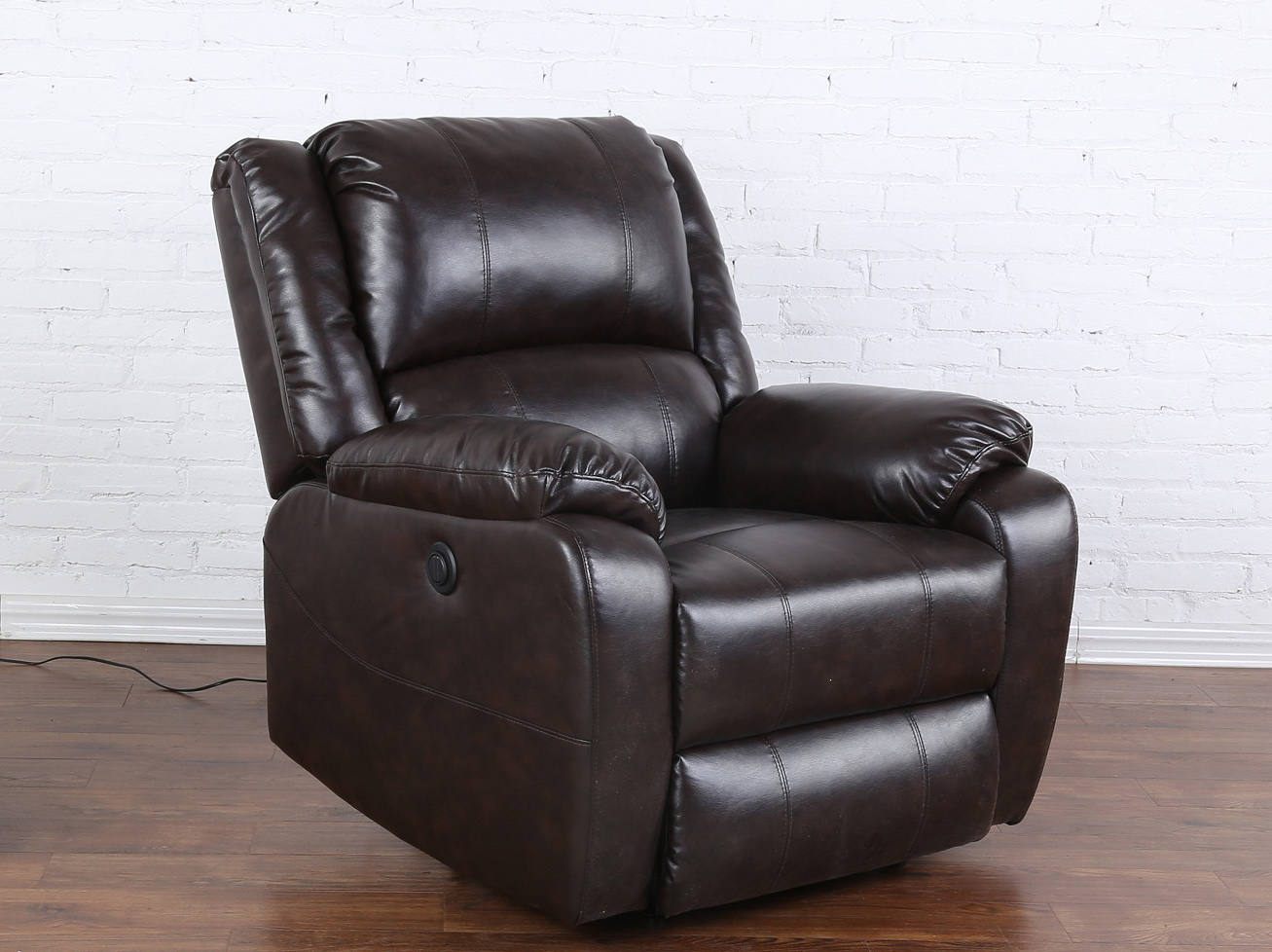 Plush Living Room Bonded Leather Recliner Chair Reclining