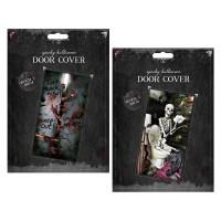 HALLOWEEN DOOR COVER SCARY DECORATION SKELETON ZOMBIES ...