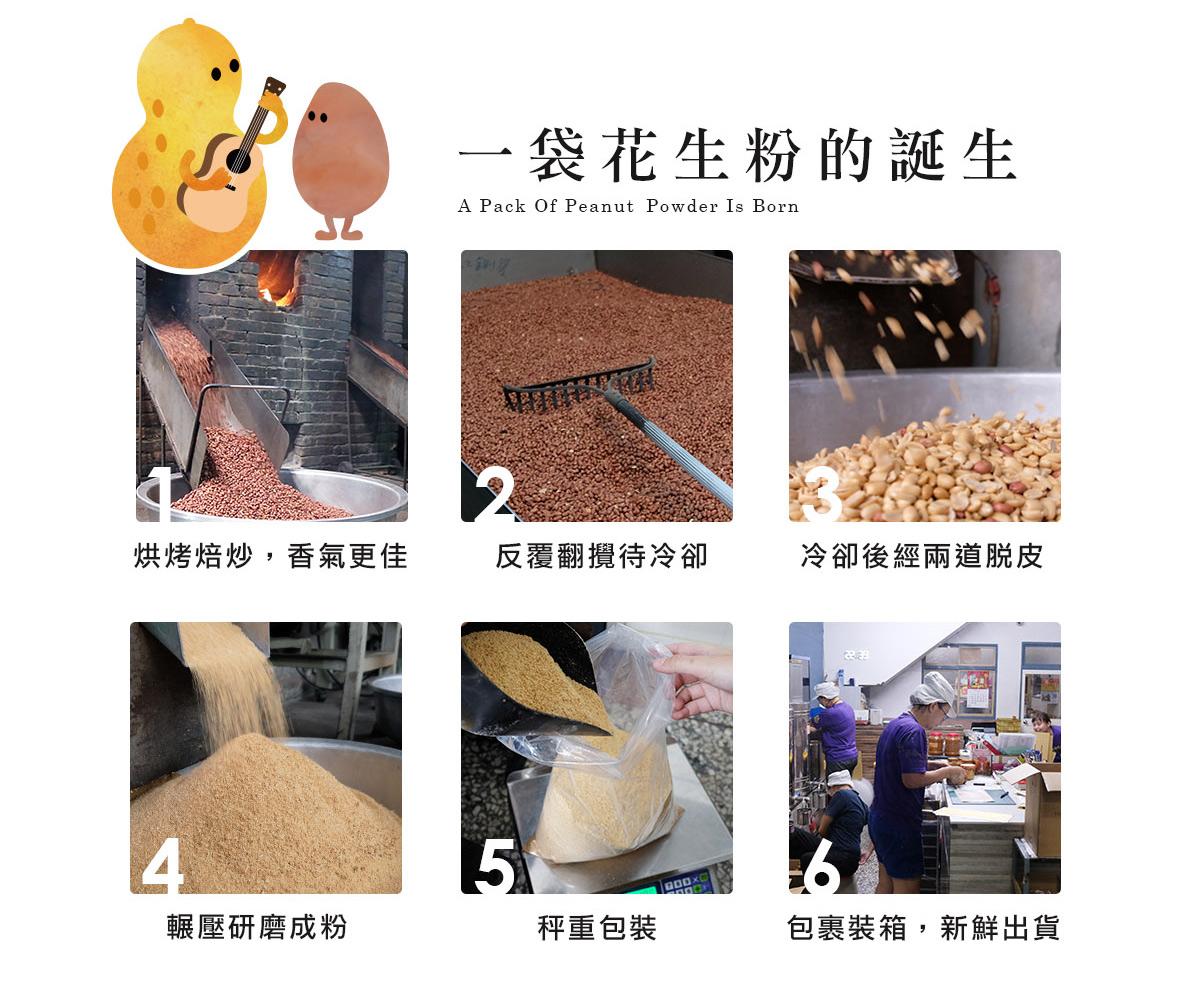 一袋花生粉的誕生:柴火焙炒,香氣更佳,冷卻後經兩道脫皮,輾壓研磨成粉,秤重包裝,包裹裝箱,新鮮出貨。