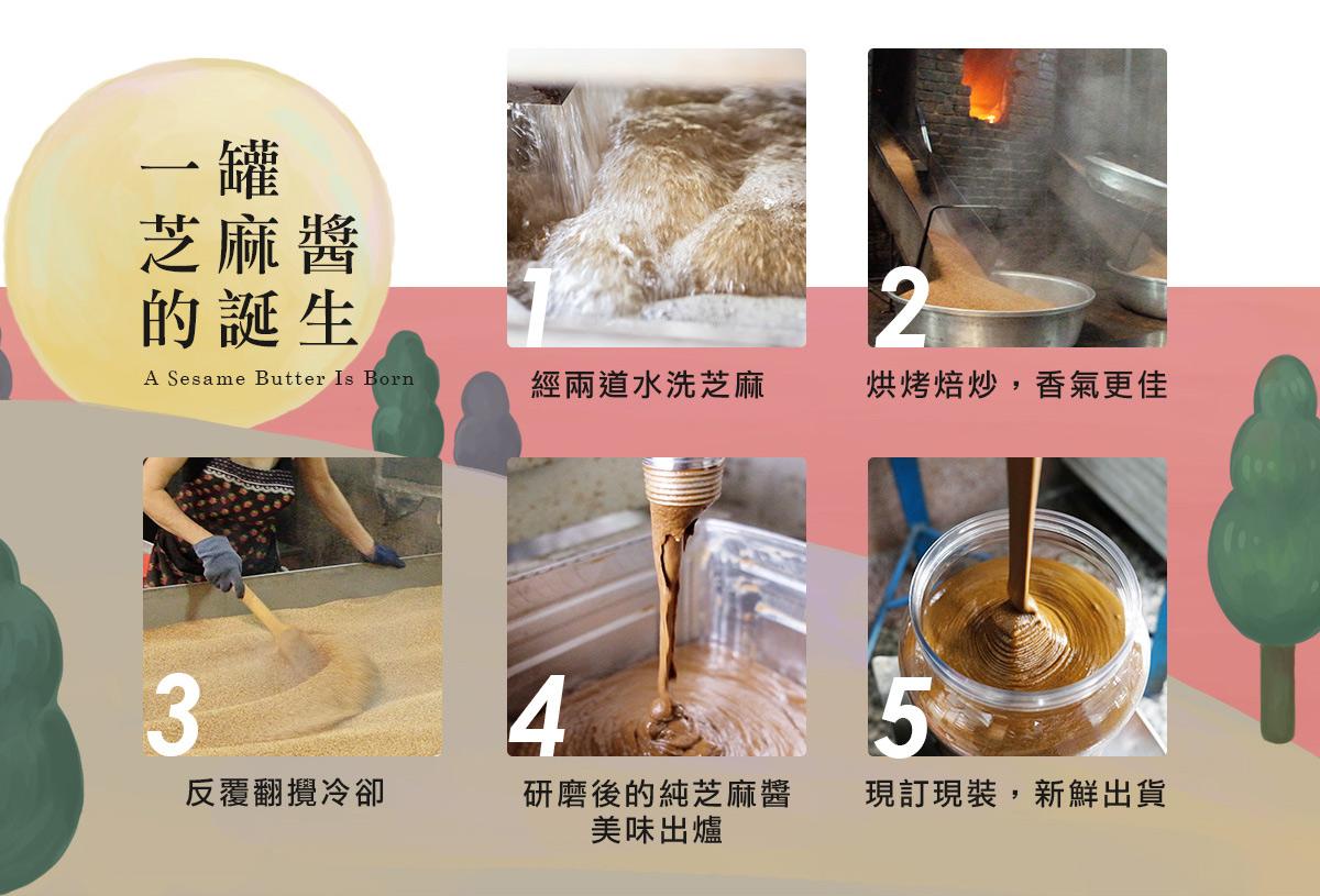 一罐白芝麻醬的誕生:經兩道水洗,柴火焙炒香氣更加,反覆翻攪使其冷卻,無添加直接研磨成醬,現訂現裝,新鮮為您出貨!