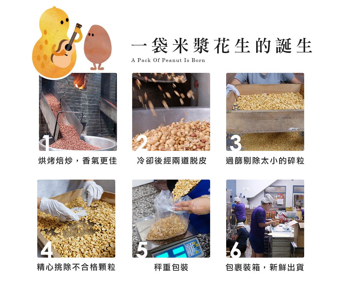 一袋米漿花生的誕生:柴火焙炒,香氣更佳,冷卻後經兩道脫皮,過篩剔除太小的碎粒,精心挑除不合格顆粒,秤重包裝,包裹裝箱,新鮮出貨。