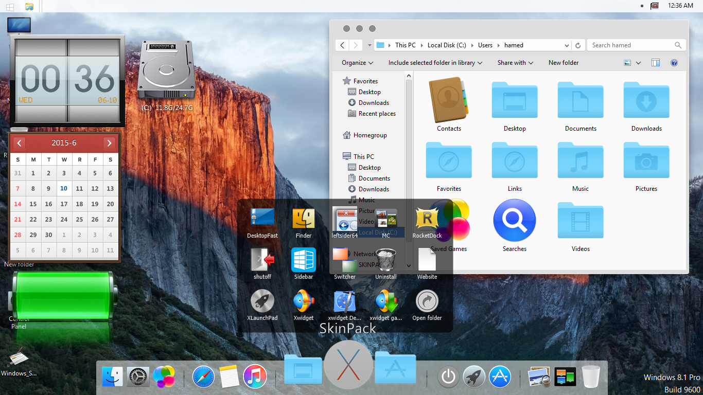 Mac os x el capitan skinpack for win781 skin pack customize transform windows 7881 to mac os x el capitan ccuart Gallery