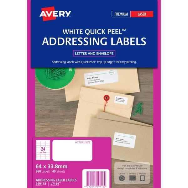 Avery Laser Labels L7159 24 Sheet