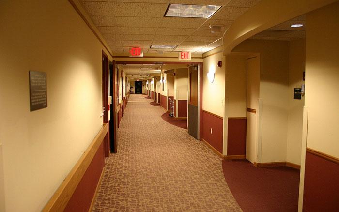 A hospital hallway at night.