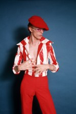 """David took me by surprise when he came out in the red and white striped outfit during this 1974 photo shoot,"" Schapiro said. ""It was different from what we expected he would be wearing."""