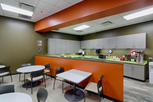 A convenient and inviting cafeteria was a major component of this office design.