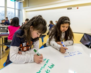 In the project space the walls, cabinets, and even the tables are writable surfaces to encourage students to demonstrate their learning. The flexible furniture in the Project space is easy to move, allowing students to quickly reconfigure as needed.