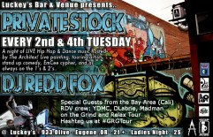 Tues 7/9 in Eugene, Oregon(Lucky's Bar-933 Olive St.) - DLabrie, YDMC , Madman, The Architex and more (Grind and Relax Tour)