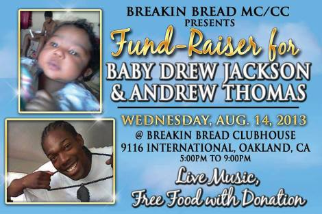 8/14 in Oakland-Fund Raider for Baby Drew Jackson & Andrew Thomas RIP - FREE Music,Food w/ Donation
