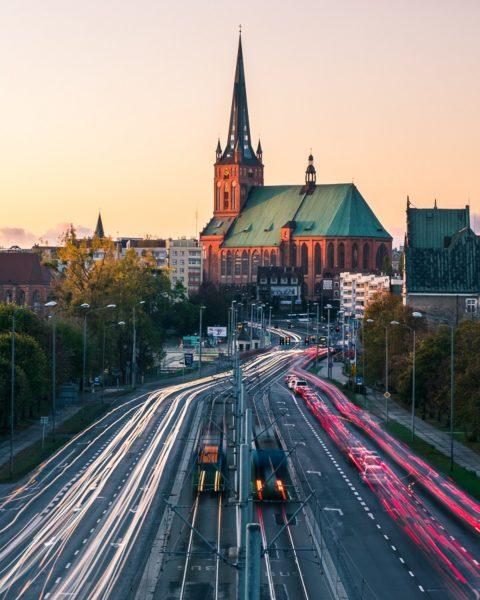 Szczecin katedra jesień