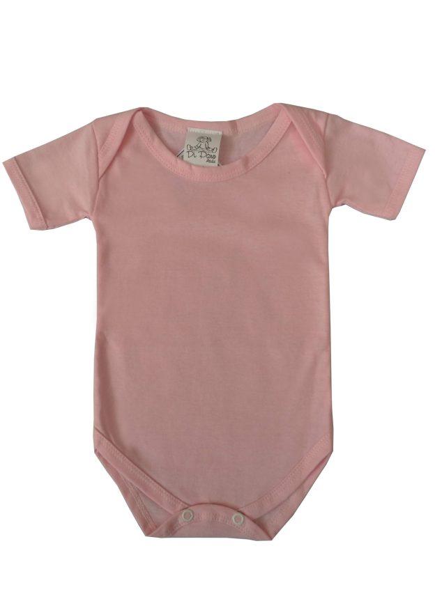 body infantil manga curta rosa
