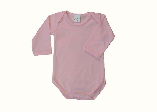 body bebê manga longa rosa claro