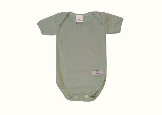 body bebê manga curta verde menta