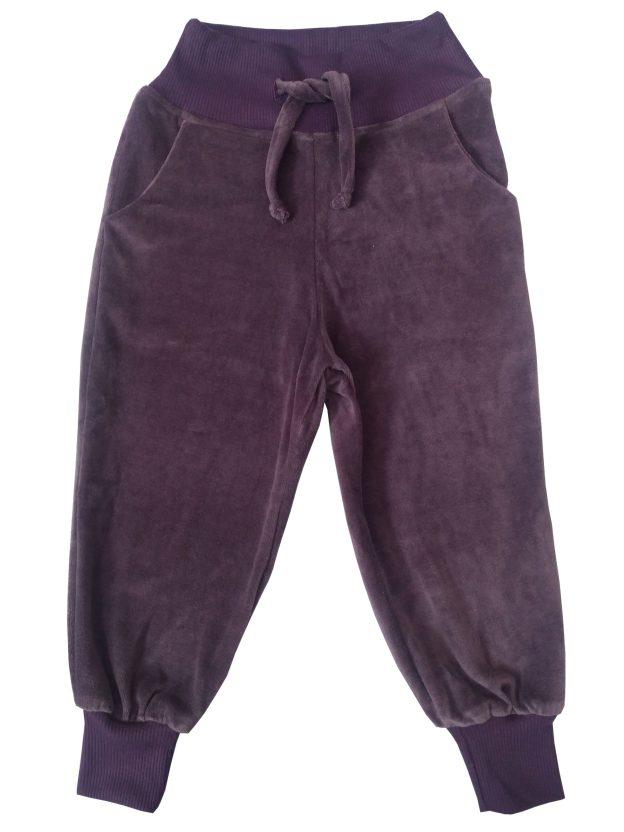 calça infantil em plush roxo com punho e cós com cordão para regulagem