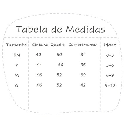 tabela de medidas para calça de plush de bebê