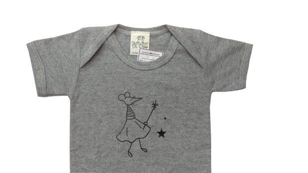 body bebê cinza com estampa de ratinha
