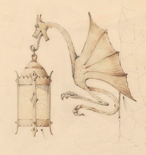 [Lantern Wall Sconce with Dragon Design], 1934, shop drawing