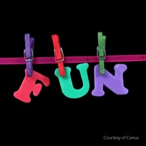 The word fun hanging on a clothesline