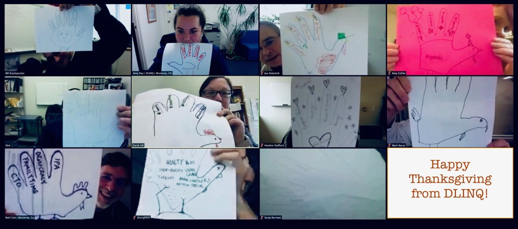 Screenshot of DLINQ staff - hand turkeys