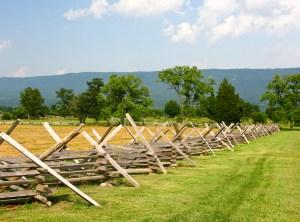 Wooden fence on a Civil War Battlefield New Market Virginia
