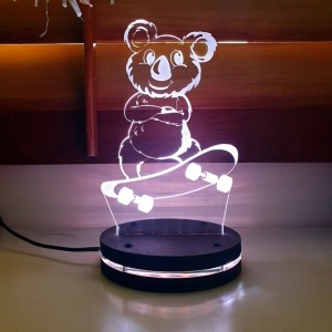 koala 3d illusion lamp round base