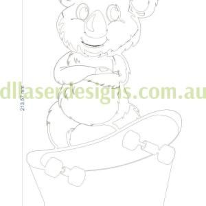 Skateboarding Koala 3D Illusion Vector File