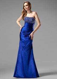 Etui-Linie Herzausschnitt Bodenlang Charmeuse Abendkleid mit Rüschen Perlen Pailletten (017004431)