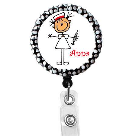 Personalized Stick Needle Nurse  Name Badge Holder  Cute