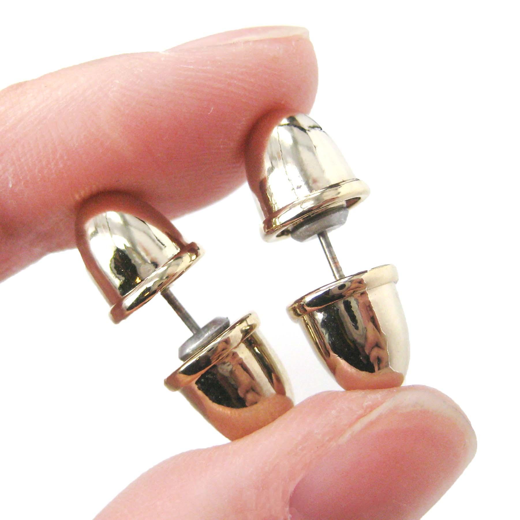 Bullet Shaped Faux Plug Fake Gauge Stud Earrings in Shiny
