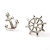 Small Anchor and Wheel Nautical Stud Earrings in Silver on ...