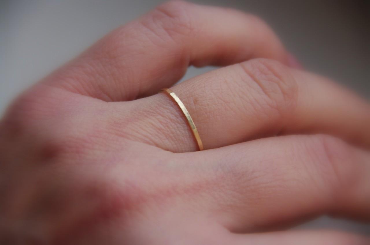 Skinny solid 14k rose pink gold stacking ring wedding