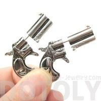 Realistic Guns and Pistols Shaped Fake Gauge Stud Earrings