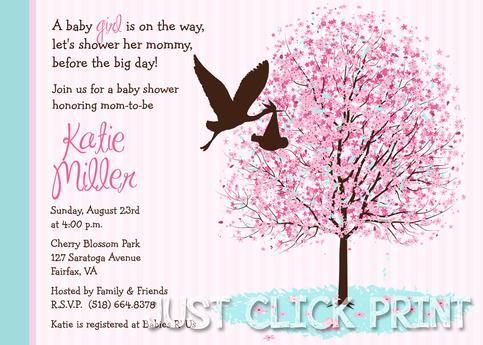 Cherry Blossom Tree Baby Shower Invitation Printable
