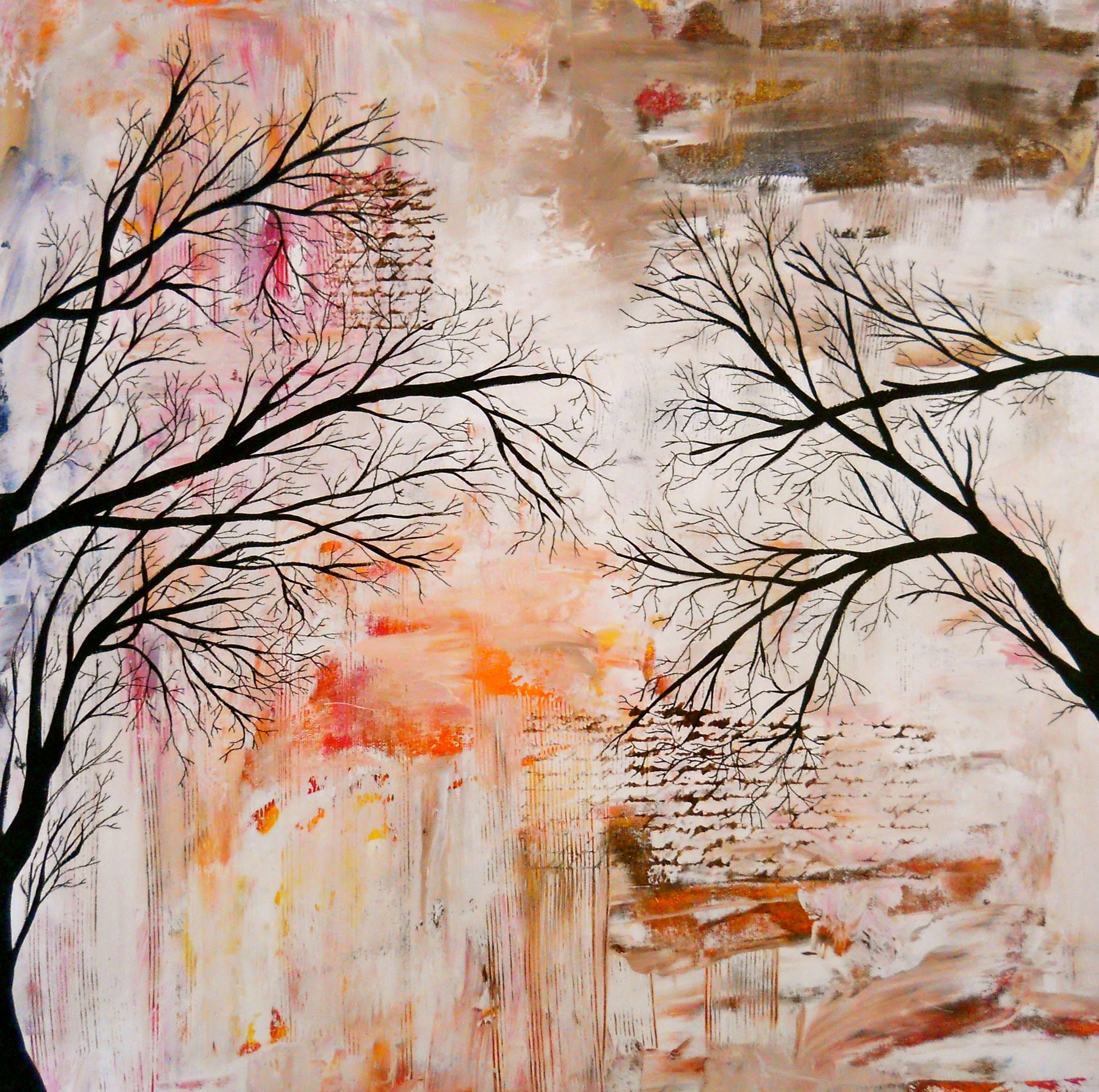 Abstract Landscape Tree Painting  Tree Silhouette on Storenvy