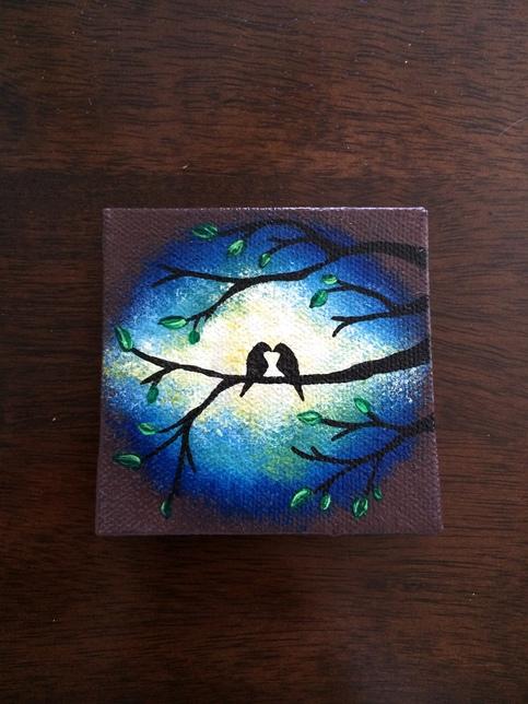 Love Birds In Tree In Blue Night Sky On Mini Canvas Hand