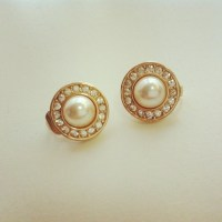 CHRISTIAN DIOR Faux Pearl & Rhinestone Earrings on Storenvy