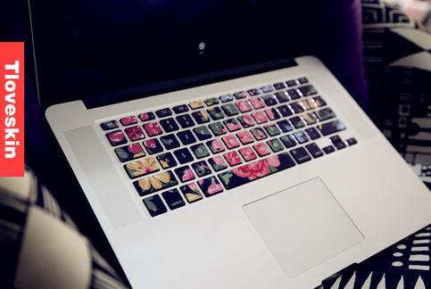 black flower macbook keyboard decal macbook pro keyboard skin macbook air sticker macbook vinyl