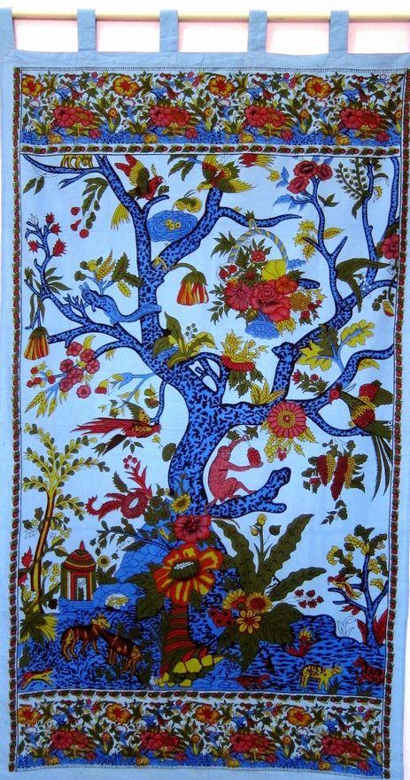 Handmade 100 Cotton Tree Of Life Curtain Drape Door Panel Window Treatment On Storenvy