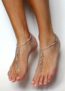 Silver Barefoot Sandals Rhinestone Beach Wedding