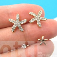 Small Starfish Star Animal Stud Earring 4 Piece Set with ...
