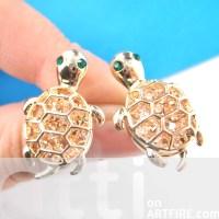Cute Turtle Tortoise Sea Animal Stud Earrings in Gold with ...