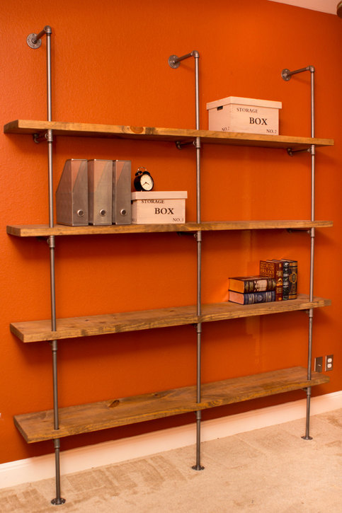 Industrial Modern Pipe Shelving Unit Furniture 36Wx84H