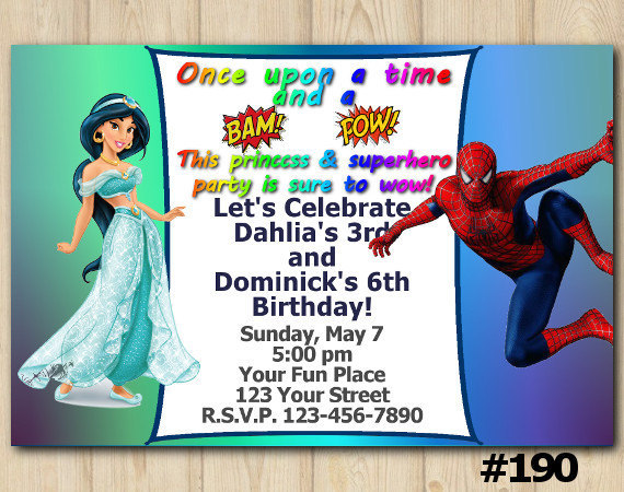 twins birthday invitation princess