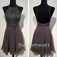 Sweetheart Girl | A-line Beaded Backless Short Prom ...