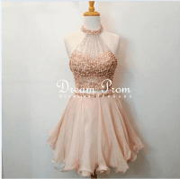 Cute 2 Pieces Champagne/Pink Beaded Short Prom Dress ...