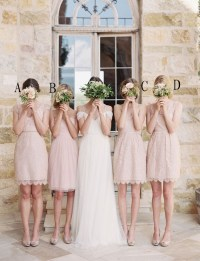 Pink Lace Short Bridesmaid Dresses,Simple Beauty ...